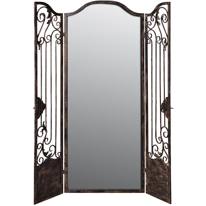 128cm X 104cm Mirror Mirror Iron 2 Panel Room Divider