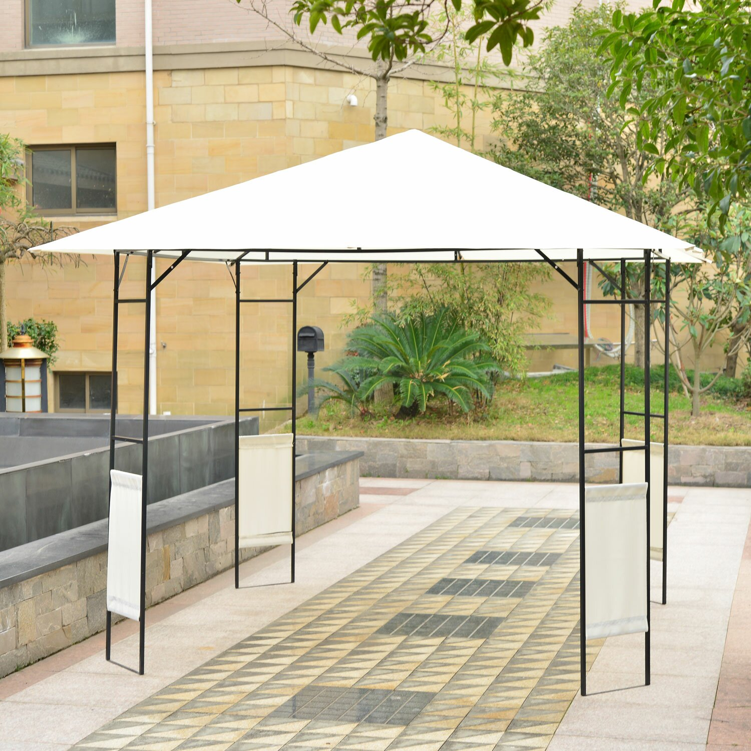 Steel Portable Gazebo : Outsunny modern ft w d metal portable gazebo
