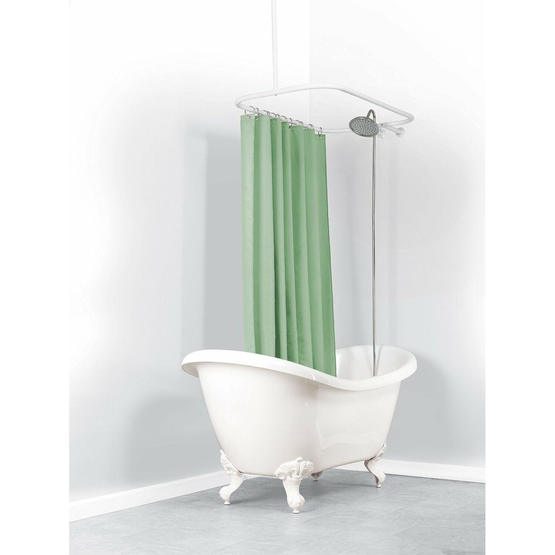 Half round shower curtain rod - Versalot Never Rust 57 75 Oval Shower Curtain Rod Reviews Wayfair