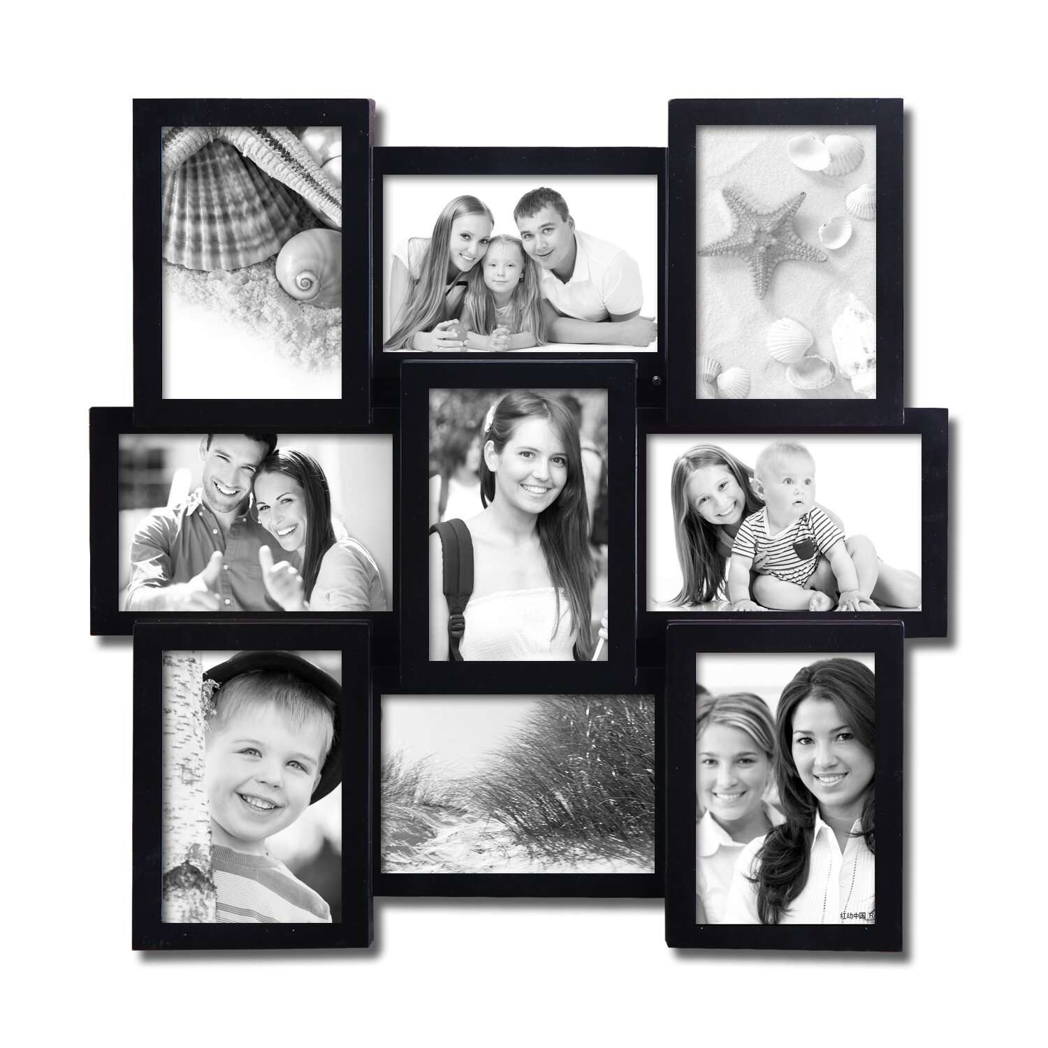 9 opening decorative wall hanging collage picture frame - Wall Hanging Photo Frames Designs