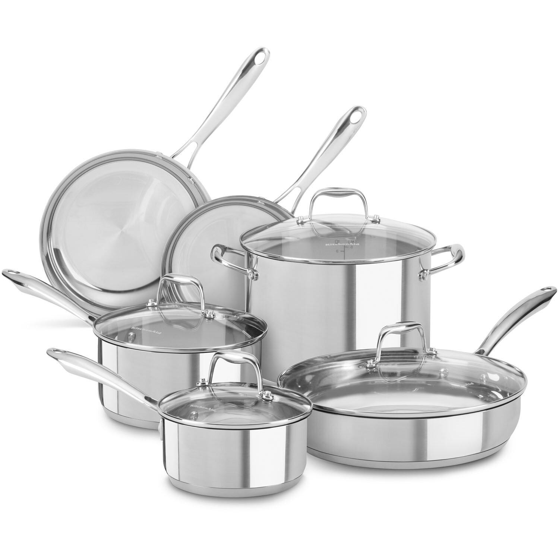KitchenAid 10-Piece Stainless Steel Cookware Set & Reviews | Wayfair