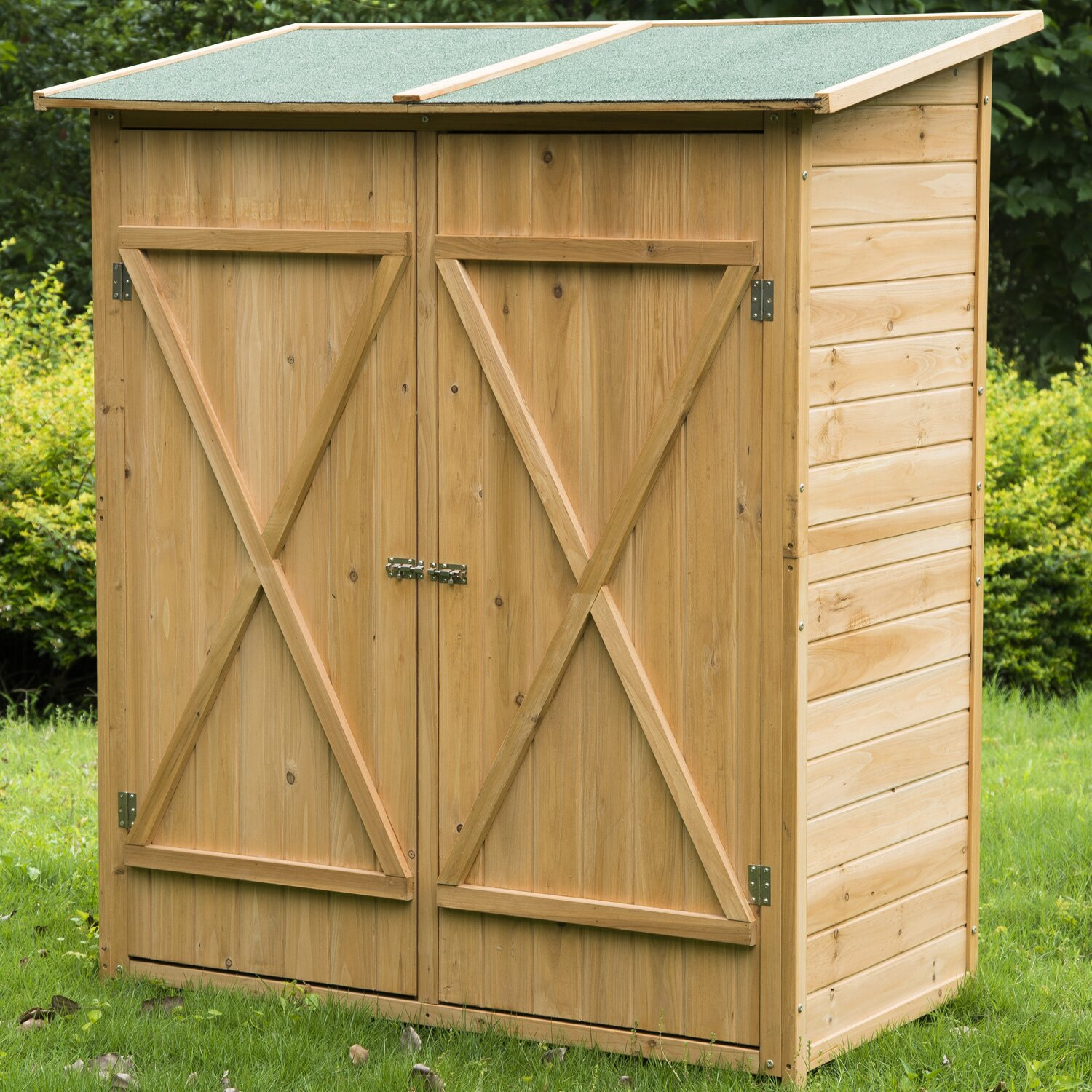 Outsunny 4.56 ft. W x 2.13 ft. D Wood Vertical Tool Shed ...