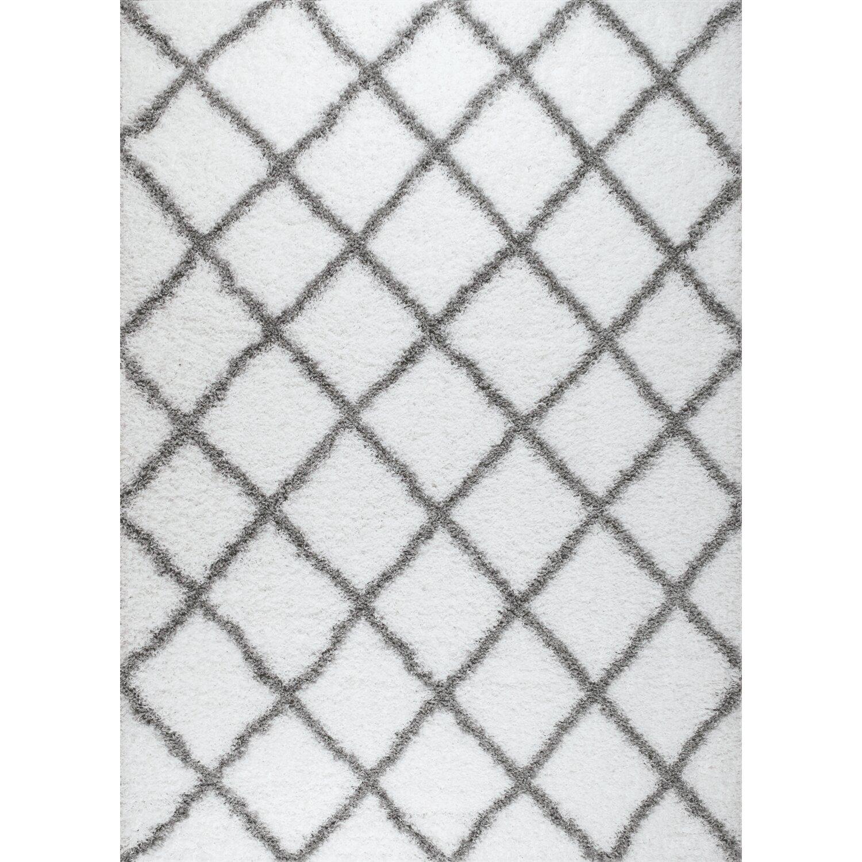 rug and decor inc supreme shag diamond white grey area rug reviews. Black Bedroom Furniture Sets. Home Design Ideas