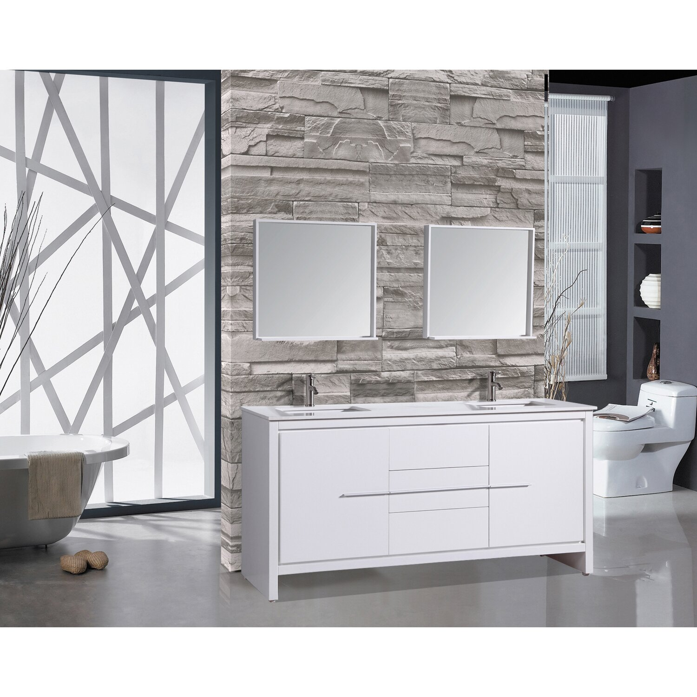 72 white bathroom vanity - Cypress 72 Double Modern Bathroom Vanity Set With Mirrors