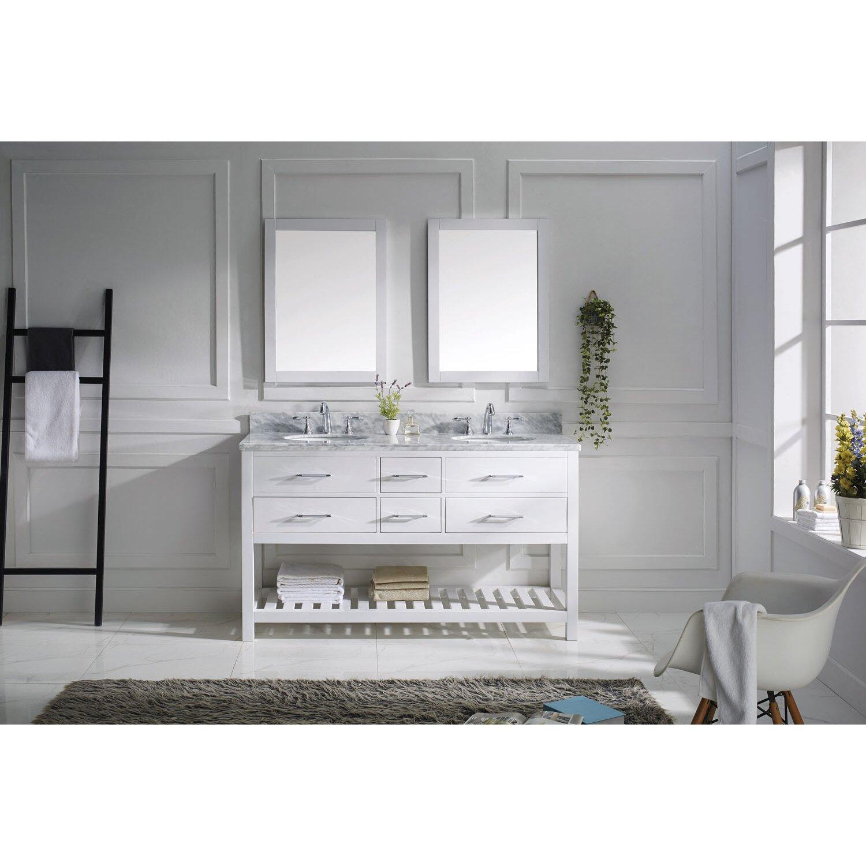 Virtu bathroom accessories - Caroline Estate 61 Double Bathroom Vanity Set With White Marble Top And Mirror