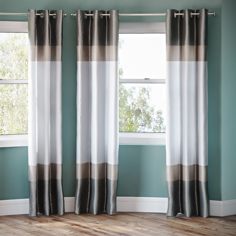 Alcott Hill Everson Striped Semi-Sheer Grommet Curtain