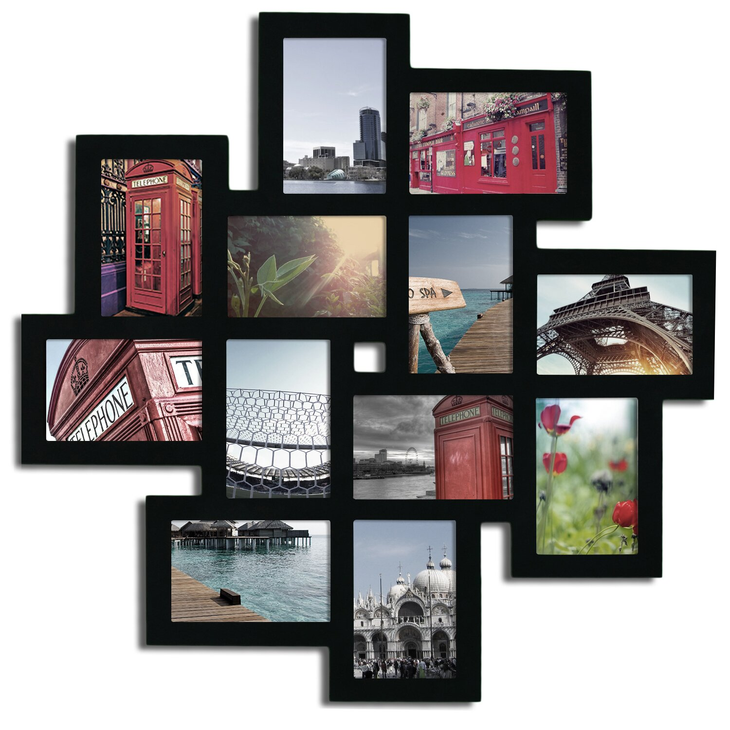 latitude run 12 opening decorative wood photo collage wall. Black Bedroom Furniture Sets. Home Design Ideas