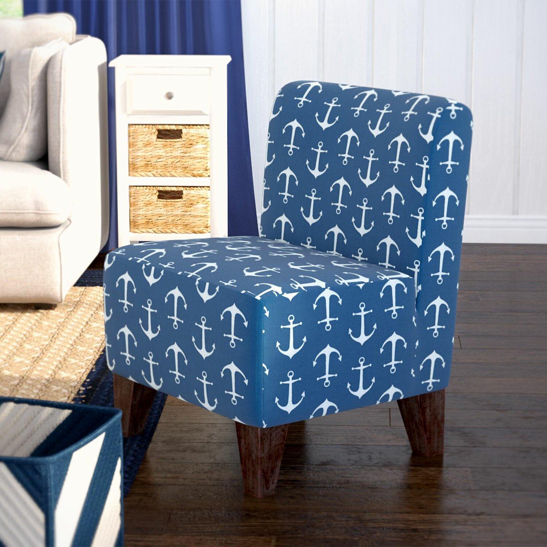 Blue tufted slipper chair - Blue Slipper Chair