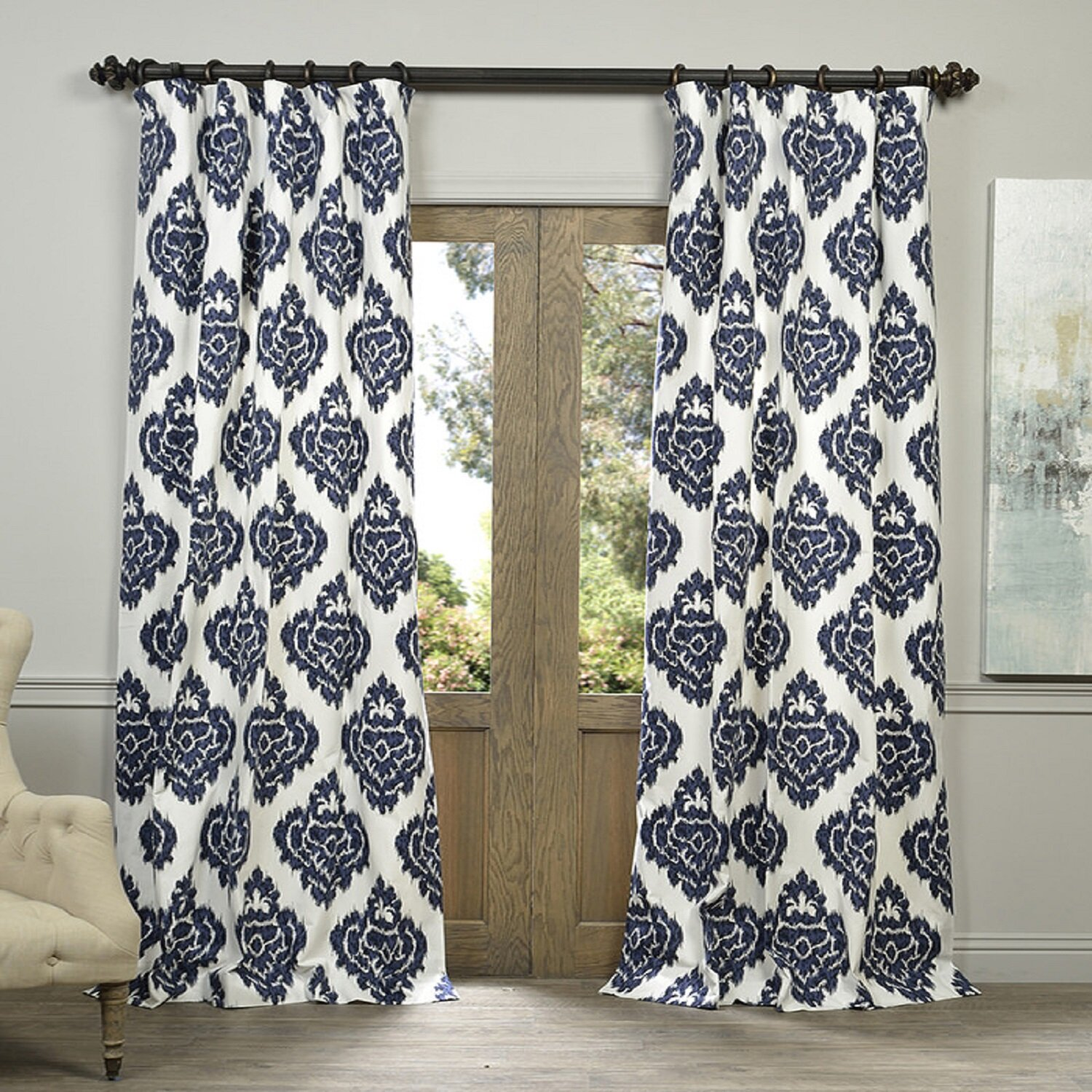 Navy ikat curtains - Zachary Ikat Semi Opaque Rod Pocket Single Curtain Panel