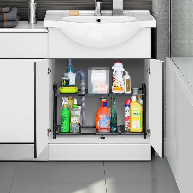 Kitchen Storage Under Sink Organizer: Lifewit Adjustable Under Sink Kitchen Storage Rack