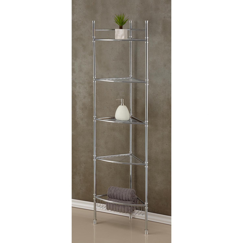 Bathroom corner glass shelf - 5 Tier Corner 13 5 W X 63 H Bathroom Shelf