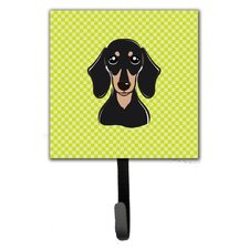 Checkerboard Smooth Dachshund Leash Holder and Wall Hook by Caroline's Treasures