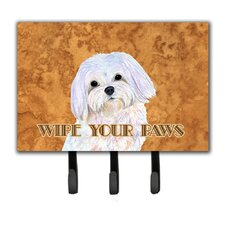 Puppy Cut Maltese Wipe Your Paws Leash Holder and Key Holder by Caroline's Treasures