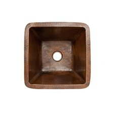 15 X 15 Square Hammered Copper Bar Sink