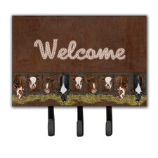 Welcome Mat with Cows Leash Holder and Key Hook by Caroline's Treasures