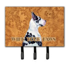Harlequin Great Dane Wipe Your Paws Leash Holder and Key Hook by Caroline's Treasures