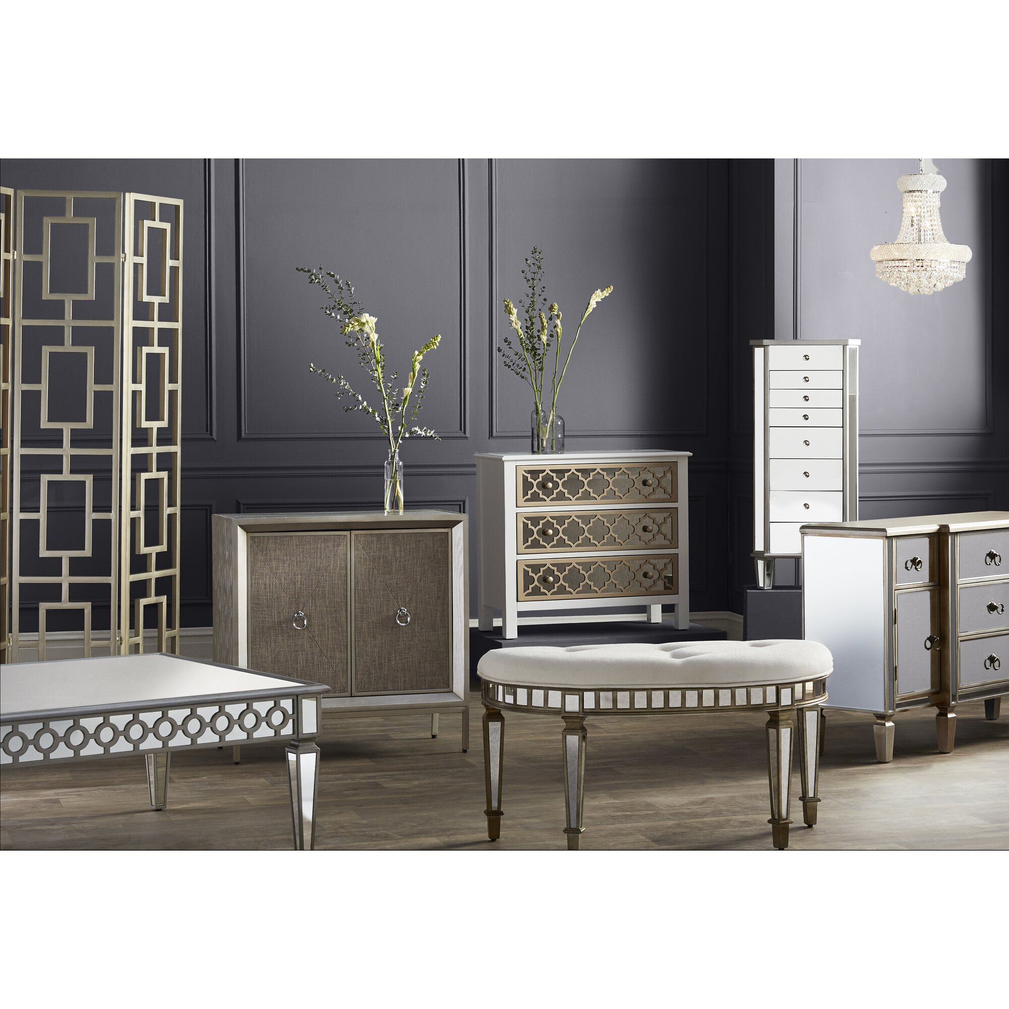 Willa Arlo Interiors Fernwood 3 Drawer Overlay Mirrored Accent Chest Reviews