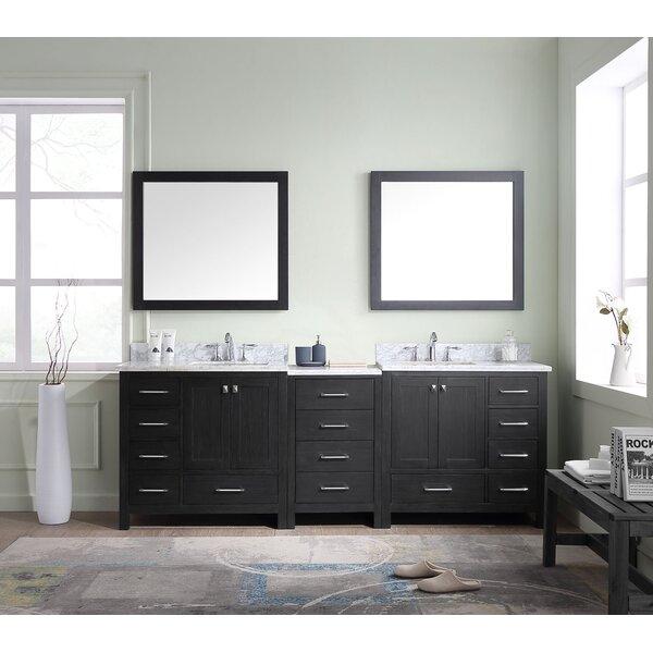 Laude Run Stoneham 90 Double Bathroom Vanity Cabinet Set With Mirror Reviews Wayfair