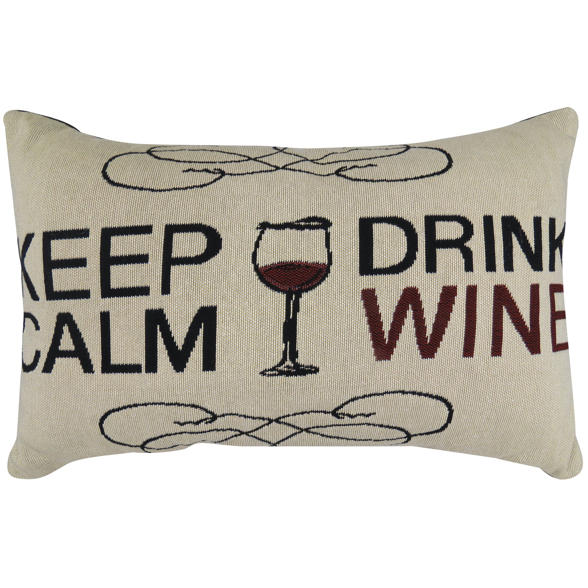 Decorative Black Lumbar Pillow : Park B Smith Ltd Keep Calm Drink Wine Tapestry Decorative Lumbar Pillow Wayfair.ca