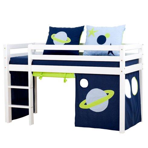 Vorhang in Space für 160cm x 70cm halbhohes Bett
