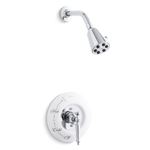 Antique Rite-Temp Pressure-Balancing Shower Faucet Trim with Lever Handle, Requires Ceramic Dial Plate, Valve Not Included