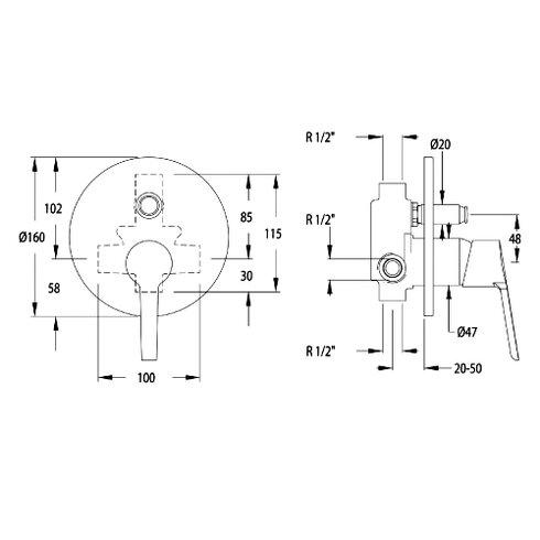 Aquanova Fly Single Concealed Shower Valve with Diverter