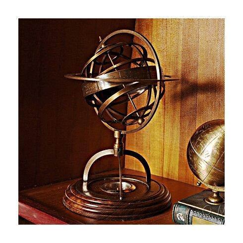 decorative brass armillery globe with compass on wood base - Decorative Globe