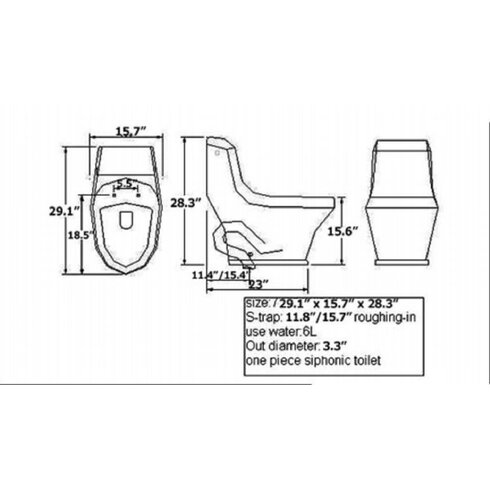 Adonis Contemporary 1.6 GPF Elongated One-Piece Toilet