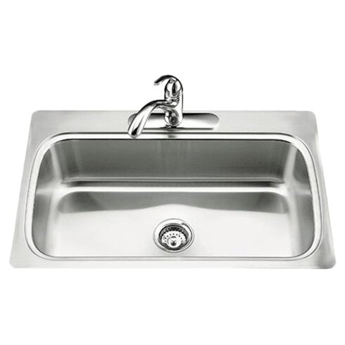 top mount single bowl kitchen sink kohler verse 33 quot x 22 quot x 8 1 4 quot top mount single bowl 9486