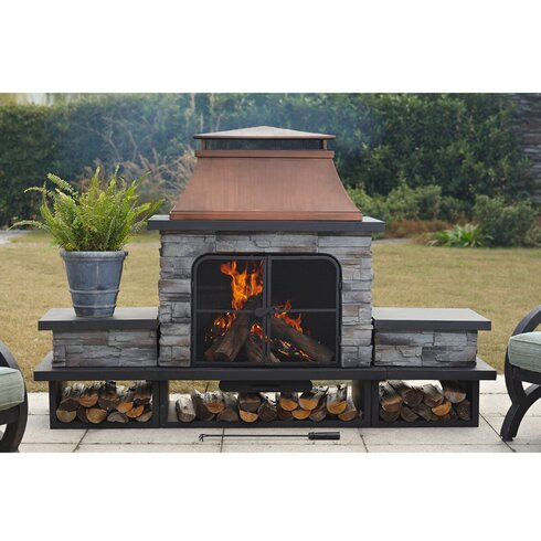 sunjoy connan steel wood burning outdoor fireplace reviews wayfair