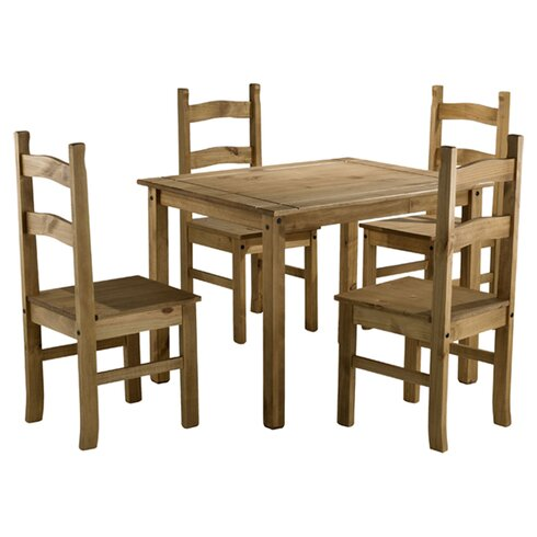 Traditional Corona Dining Set with 4 Chairs