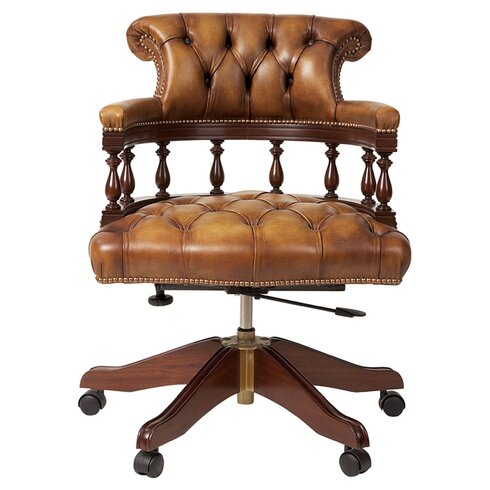 Captains Mid-Back Leather Bankers Chair