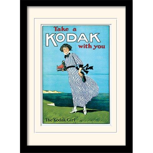 Kodak Girl Mounted & Framed Vintage Advertisement