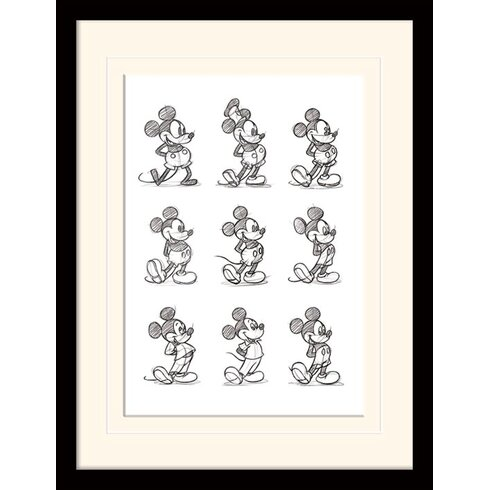 Mickey Mouse Sketched Mounted Framed Art Print