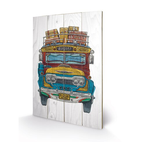 Columbian Bus by Barry Goodman Graphic Art Plaque