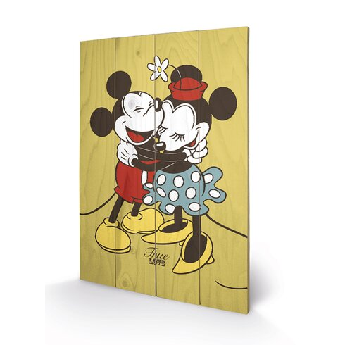 Mickey and Minnie Mouse, True Love Vintage Advertisement Plaque