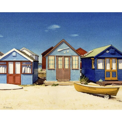 Three Beach Huts by Margaret Heath Canvas Wall Art
