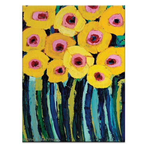 Yellow Blooms by Anna Blatman Art Print Wrapped on Canvas