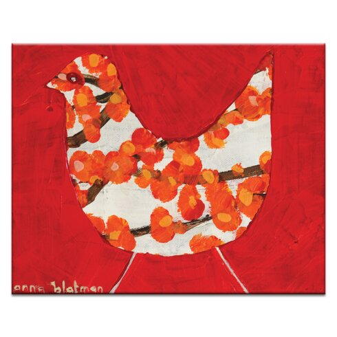 Red Bird by Anna Blatman Art Print Wrapped on Canvas in Red