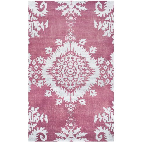 Hermione Hand-Knotted Fuchsia/White Area Rug