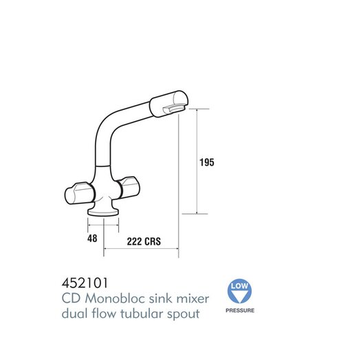 Ceramic Double Handle Surface Mounted Monobloc Mixer Tap