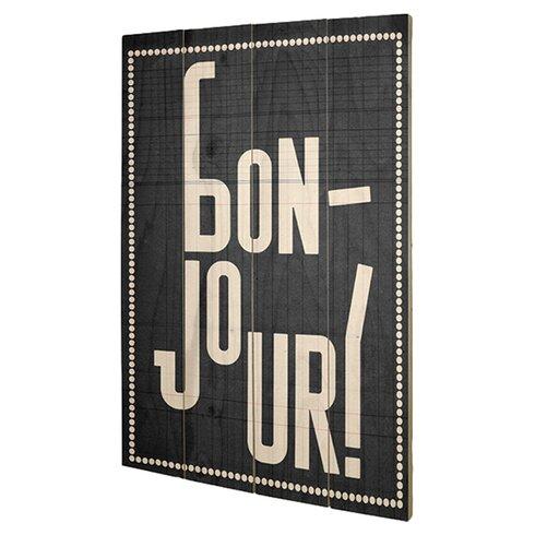 Bonjour by Edu Barba Typography Plaque