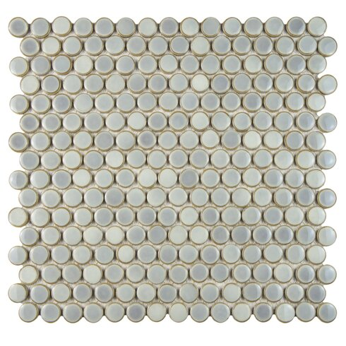"Penny 0.8"" x 0.8"" Porcelain Mosaic Tile in Glossy Gray"