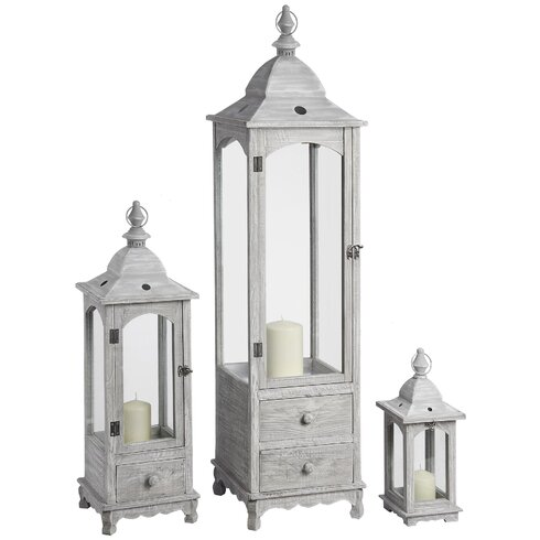 3 Piece Wooden/Glass Lantern Set