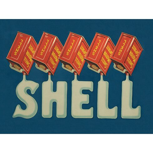 Shell Five Cans 'Shell', 1920 Vintage Advertisement Canvas Wall Art