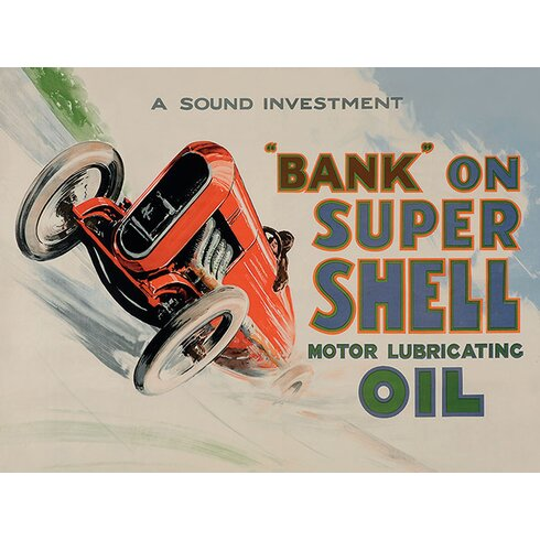 Shell Bank On Shell - Racing Car, 1924 Vintage Advertisement Canvas Wall Art