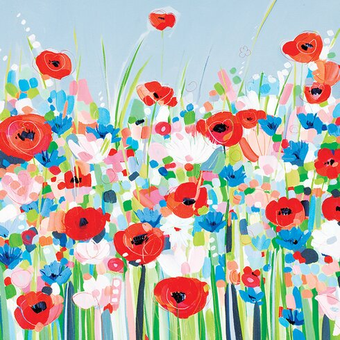 Cornflowers and Poppies by Janet Bell Canvas Wall Art