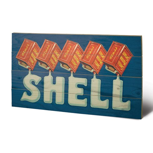 Shell Five Cans 'Shell', 1920 Vintage Advertisement Plaque
