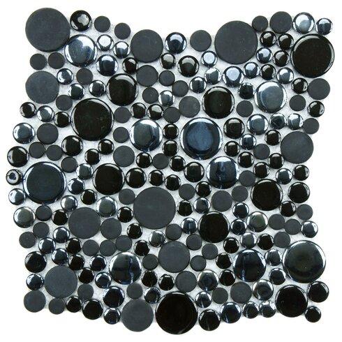 """Posh Bubble 11.25"""" x 12"""" Porcelain Mosaic Tile in Black"""