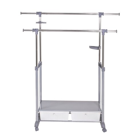 Height Adjustable Rolling Coat Stand